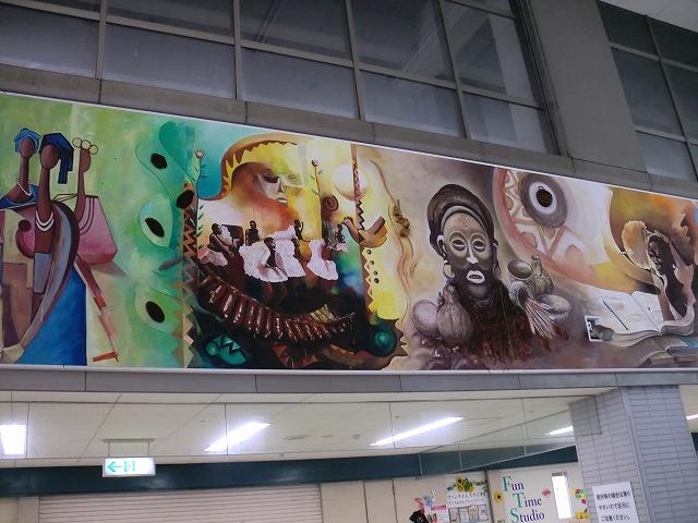 センター北駅構内の大壁画/モンゴル共和国